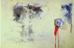 "Roberto Pagnani, ""Astolfo sulla Luna"", assemblage on canvas, 60cmx90cm, 2012"